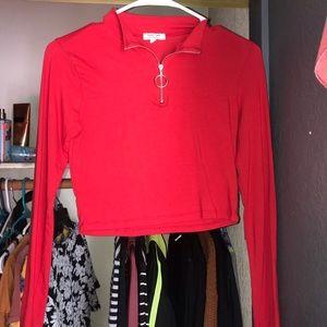 Long sleeve red crop top